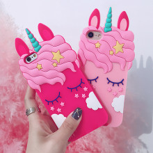 3D Cartoon Soft Silicone Phone Case For iPhone 5S 6 6S 7 8 Plus Cute Pink Unicorn Animal X XR Xs Max Cover