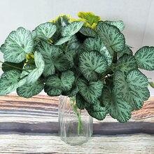 Grama artificial verde begonia plantas para decoração de casa, plantas artificiais para decoracion plantas de plástico falso para bonsai