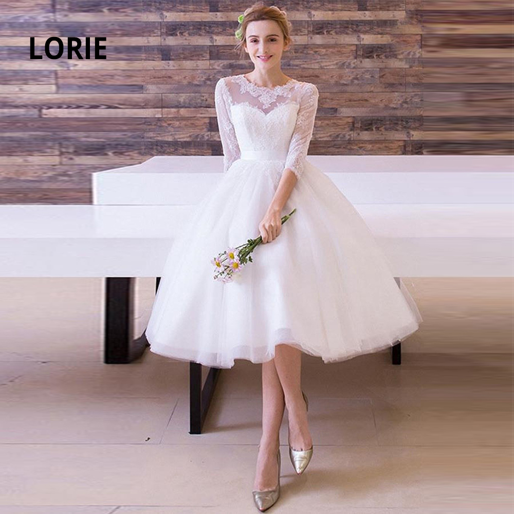 LORIE Knee-Length Short Wedding Dresses Lace Appliqued Soft Tulle Beach Boho White Bridal Gowns Back Lacing Party Dress