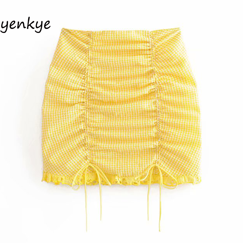 Summer Skirts Womens Yellow Plaid Drawstring Draped High Waist  Mini Skirt  Sexy LDZZ6105