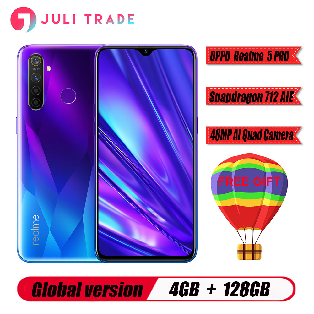 "Global version Oppo Realme 5 PRO Mobile Phone Snapdragon 712 AIE 4305mah 6.3"" Full Screen 4GB RAM 128B ROM 48.0MP 5 Cameras"