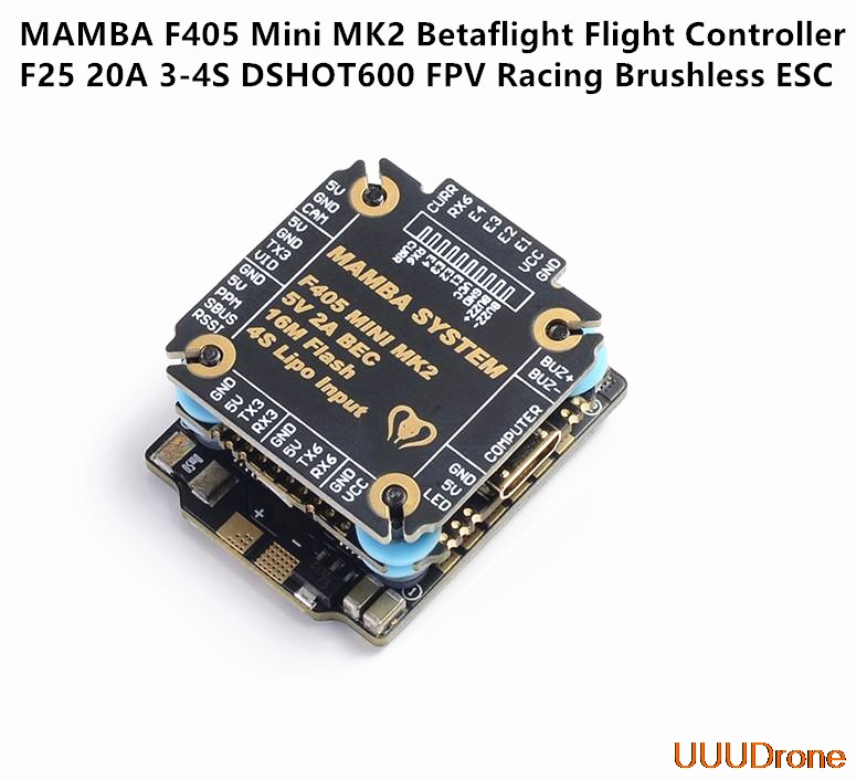 Diatone <font><b>MAMBA</b></font> <font><b>F405</b></font> <font><b>Mini</b></font> MKII Betaflight Flight Controller & 25A ESC 2-4S DSHOT600 stack FPV Racing Brushless ESC For RC Drone image