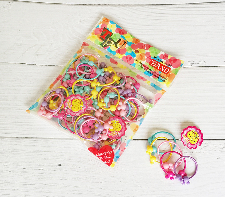 Korean Version Wholesale 50 Pcs Colorful Child Kids Hair Holders Cute Rubber Hair Band Elastics Accessories Girl Charms Tie Gum