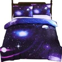 3D Galaxy Bedding Duvet Cover Single Reversible Purple Star Microfiber Quilt Zipper Tie Child Teen Girl