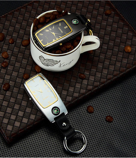 wholesale Charging  Lighter Keychain USB Watch Survival Compass Cigarette Lighter with Light Electric New Multi-function Outdoor 6