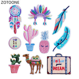 ZOTOONE Embroidered Badge Iron on Feather Patch Heat Transfer for Clothes Jeans DIY Camel Cactus Patches for Kids Bag Applique E