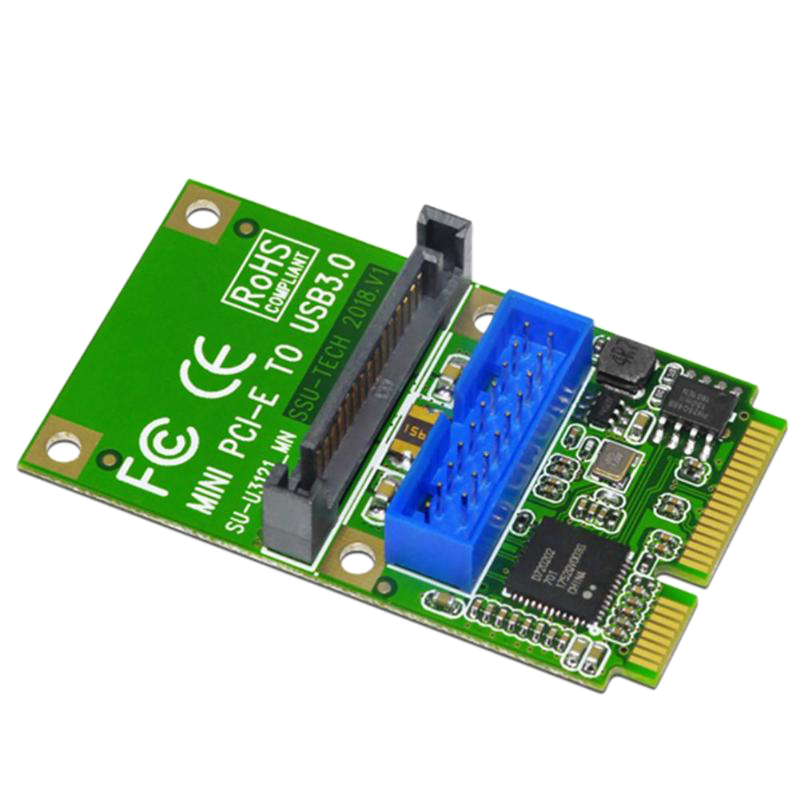 Mini <font><b>Pci</b></font>-E To <font><b>Usb3.0</b></font> Adapter Card Mini Pcie To19-Pin 20Pin Usb 3.0 Expansion Card With 15Pin Sata Power Ports For Desktop Pc image