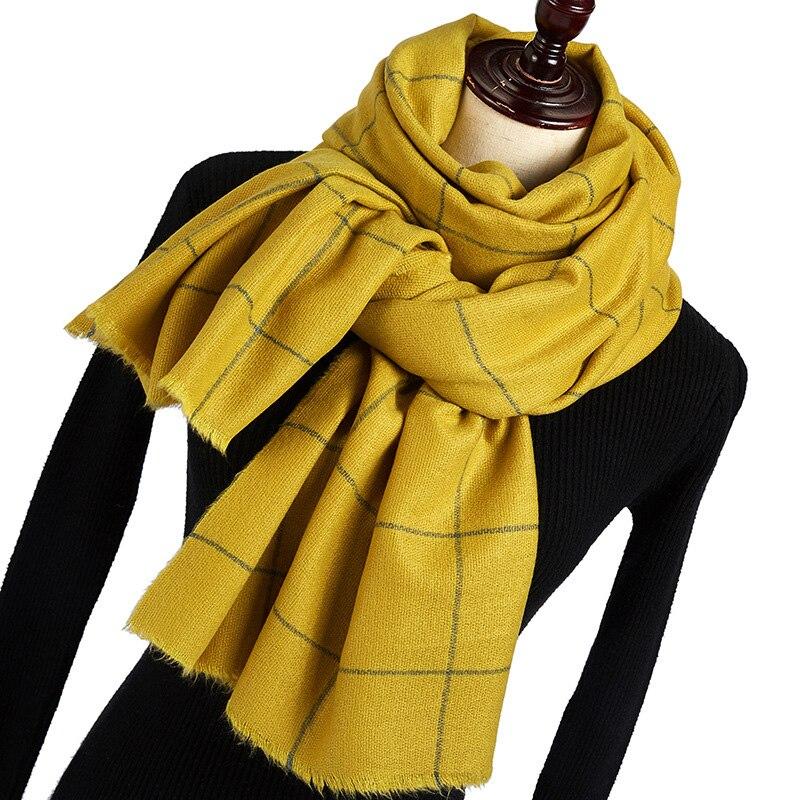 2019 New Autumn Winter Black Red Green Yellow Buffalo Tartan Plaid Scarf Women Men Thick Fleece Wool Warm Scarves Poncho Cape