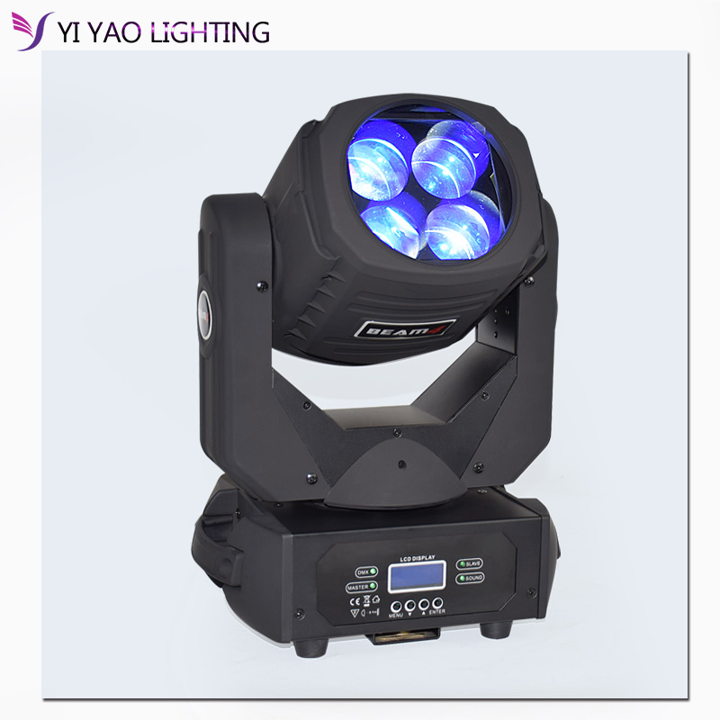 4x25W Led Super Beam Moving Head Lights Spot Zoom DMX 9/15CH for Disco Stage Wedding Party Decorations