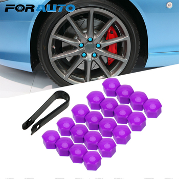 FORAUTO 20pcs Auto Hub Screw Cover Car Styling Car Wheel Nut Caps Auto Trim Tyre Nut Bolt 17mm Anti-Rust Dust Proof Protector image