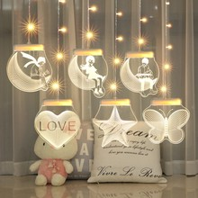 LED Curtain Light USB Power Suspension Magic Light Family Party Window Decoration Creative 3D Theme Night Light Decoration Light