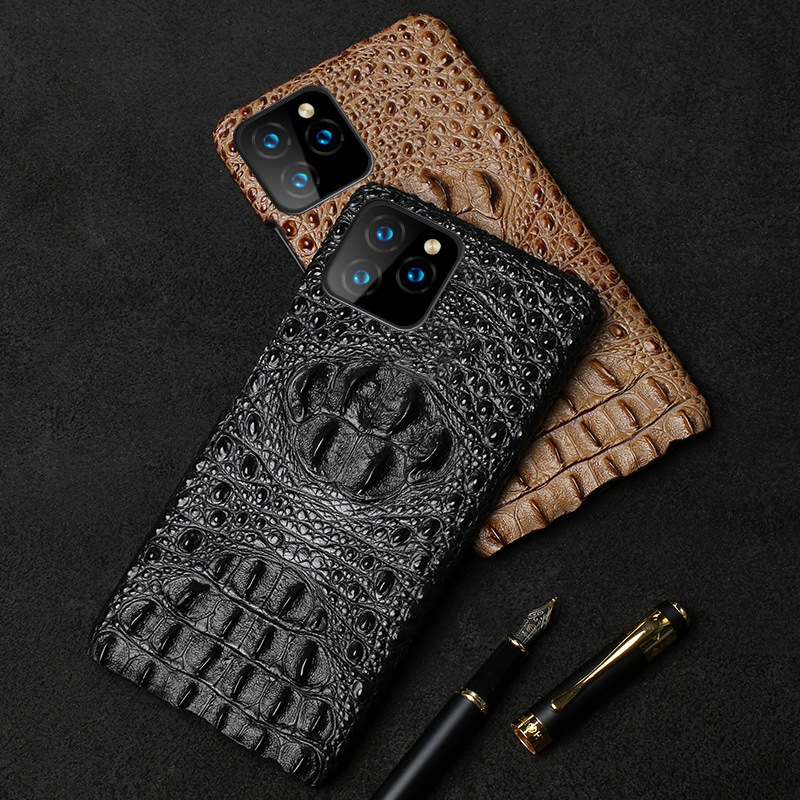 Genuine Leather Phone Case for iphone 11 Pro Max X XR XS Max 6s 7 8 Plus Crocodile Texture Shockproof Hard Back Protection Cover
