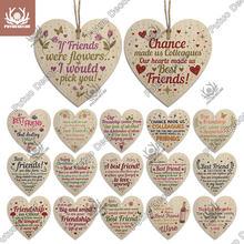 Putuo decoração melhor amigo coração forma de madeira pendurado sinal adorável amizade placa artesanato ornamento para presente para amigo lembrança tag