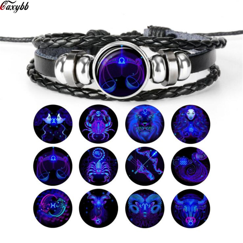 Fashion 12 Constellations Leather Zodiac Sign Beads Bangle Bracelets For Women Men Boys Jewelry Travel Bracelets & Bangle