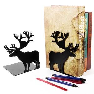 Image 1 - 2 יח\סט ספר בעל לקריאה איילים מתכת מדף ספרים תלמיד מתכת Bookend שולחן מחזיק Stand עבור ספרים ארגונית חג המולד מתנה