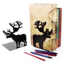 2pcs/set Book Holder for Reading Elk metal Bookshelf Student Metal Bookend Desk Holder Stand for Books Organizer Christmas Gift