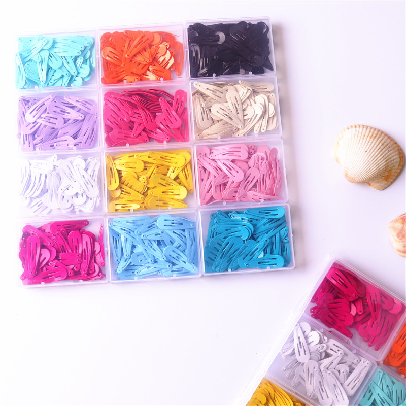 50pcs Assorted Colors Alloy Hair Clip Snaps Accessories for Girls Kids Baby