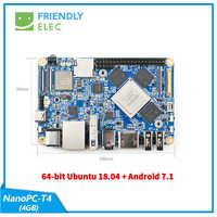 NanoPC-T4 Rockchip RK3399Cortex-A72 Cortex-A53 VR AI OpenCV TensorFlow MIPI wifi de doble banda M.2PC EC20 4G 16GB EMMC FriendlyELEC