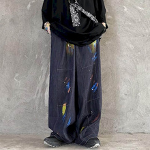 women jeans high street retro washed denim hand-painted graffiti wide-legged loose hip-hop straight men women old pants trend