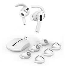3 Pairs רך סיליקון אוזן ווים עבור AirPods פרו אנטי להחליק אוזניות מכסה טיפים + סיליקון פאוץ אביזרי עבור אפל AirPods פרו