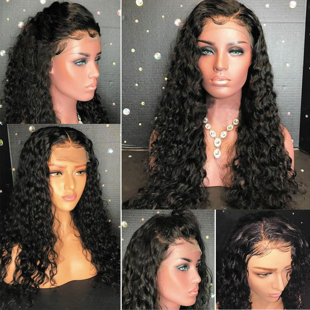 Deep Wave Lace Frontal Wig  Closure Wig Glueless 180 Density  Hair Lace Closure Wig With Baby Hair  4