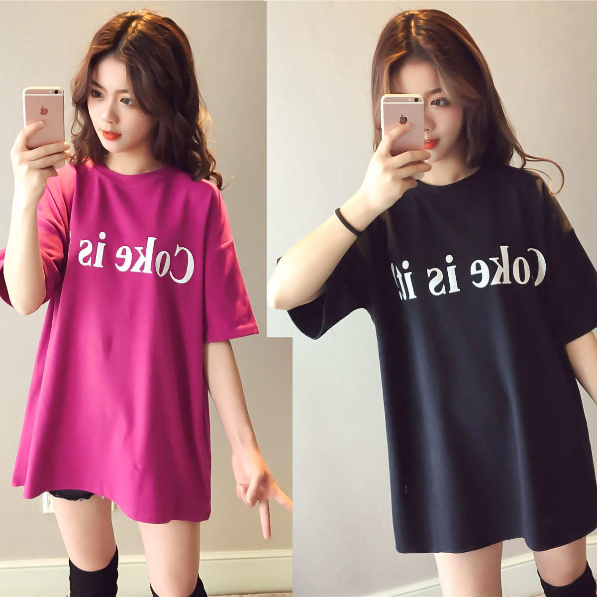 Summer <font><b>BF</b></font> Style Lettered Short Sleeve T-shirt Dress <font><b>Children</b></font> Mid-length 2018 New Style Harajuku-Style Loose-Fit Dress Women's Fa image