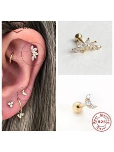 Stud-Earrings Crystal Fine-Jewelry Piercing Pendientes Ear-Bone CANNER Real-925-Sterling-Silver