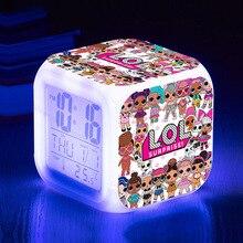 Цифровой будильник Lol Surprise с мультяшными героями, светодиодная подсветка, цветная наволочка, сумочка, Противоскользящий коврик, украшения д...