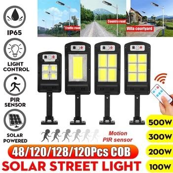 500W Led Solar Street Lights 128 COB Outdoor Lighting Security Lamp Motion PIR Sensor Remote Control Waterproof Wall Lamp 1