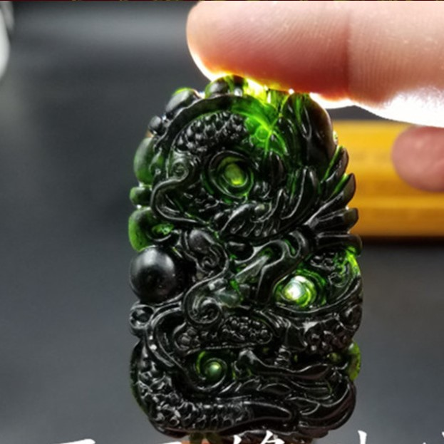 Carved Zodiac Dragon Jade Pendant Natural Chinese Black Green Necklace Charm Jewellery Fashion Lucky Amulet Gifts