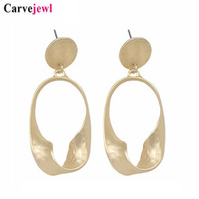 Carvejewl drop dangle earrings irregular oval metal disc for women jewelry matte gold silver plating fashion