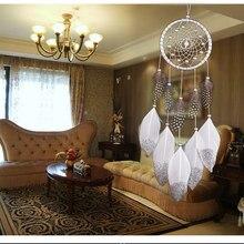 1 abalorio hecho a mano de plata atrapasueños campanas de viento estilo indio colgante de pluma atrapasueños decoración colgante para coche creativa