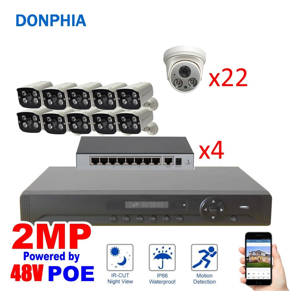 32 kamera System POE power 2MP mit 32 PoE ch NVR + 10 außen kamera + 22 innen kameras + 4 8Poe Schalter