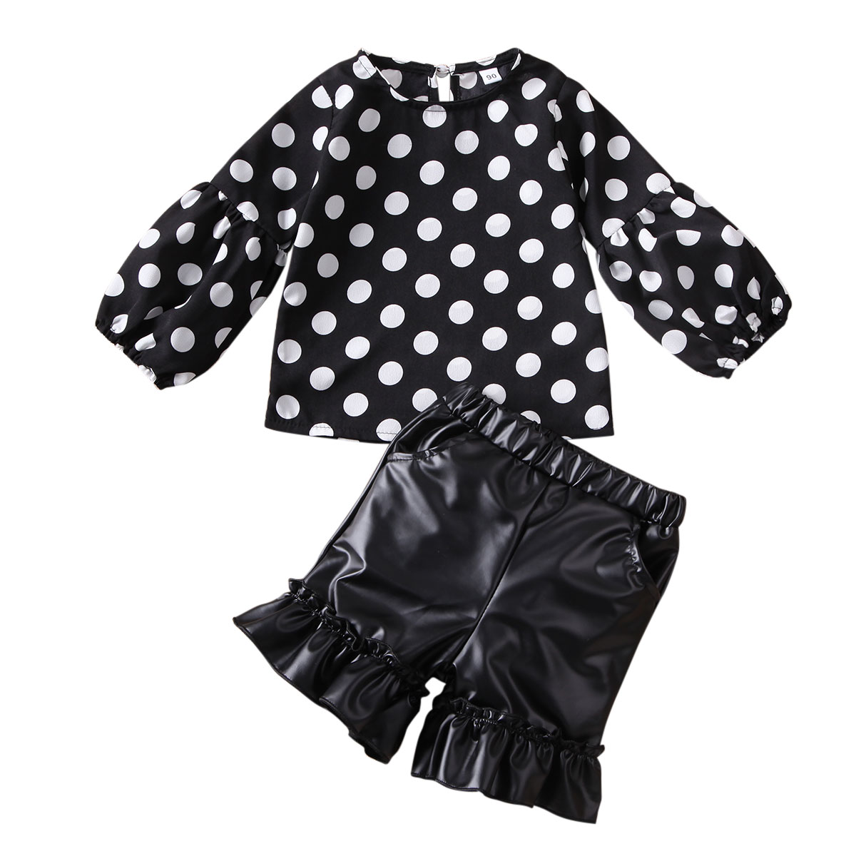 >Emmababy New Toddler Baby Girl Kid Polka-dot Tops + Short <font><b>Leather</b></font> <font><b>Pants</b></font> <font><b>Outfit</b></font> Clothes