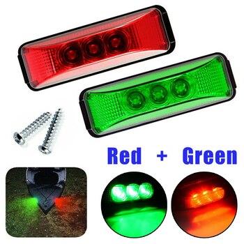 2pcs Light 12V Bow Pontoon Lights 1 W Oval Red+Green Stern Starboard Lights