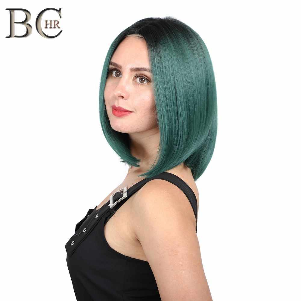 BCHR Short Bob 13*4 Synthetic Lace Front Wig Dark Green Heat Resistant  for Women Ombre Cosplay Or Party Wigs