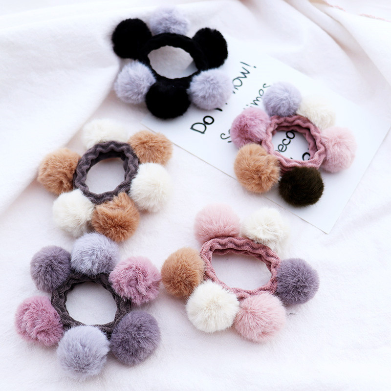 1PC Lovely Plush Ball Women's  Ponytail Elastic Hair Bands Elegant Girls Hair Grips Hair Accessories HeadWear