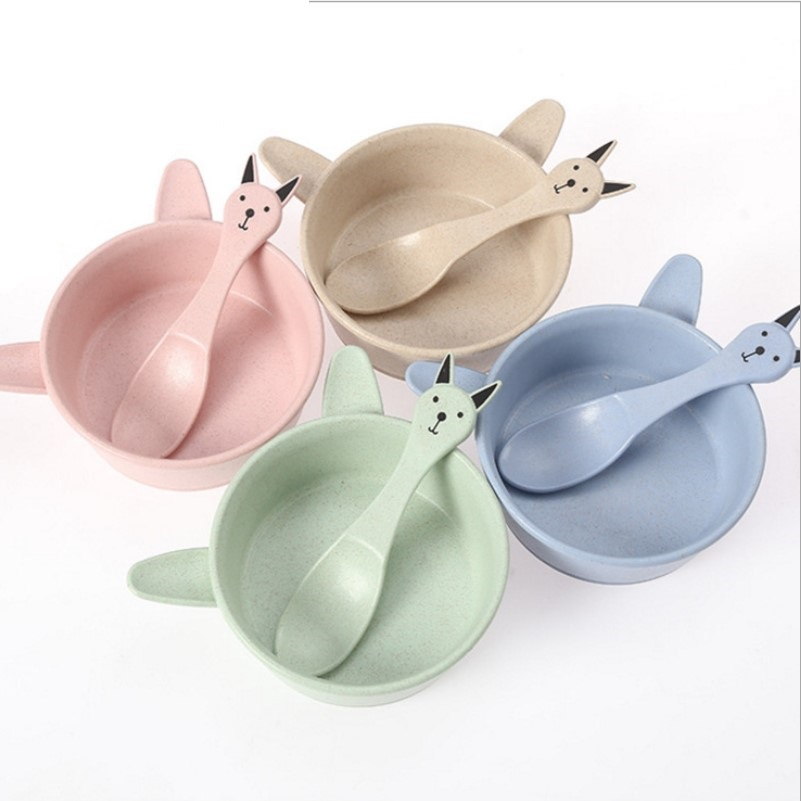 Wheat Straw Bowl Folk Spoon Temperature Sensing Dishes Set Baby Dinner Plate Training Bowl Spoons Fork Learning Eating Tableware