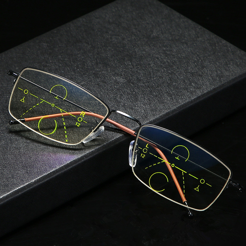 2020 New Titanium multi - focus reading glasses, progressive dual - focus anti - blue, anti - ultraviolet, hyperopia glasses