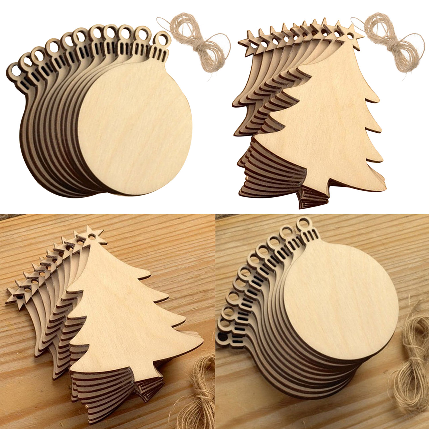 10Pcs Fashion Merry Christmas Tree Wooden DIY Carft Toys Gifts Hanging Decorations Ornaments Home Shop Mall Party Cafe Pub Decor
