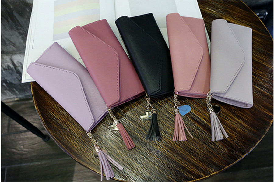 2020 Fashion Ladies Wallet Simple Zipper Love Tassel Wallet Long Clutch Soft PU Leather Money Bag