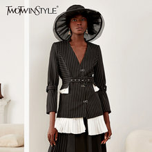 Женская куртка с оборками twotwinstyle черная Свободная отложным