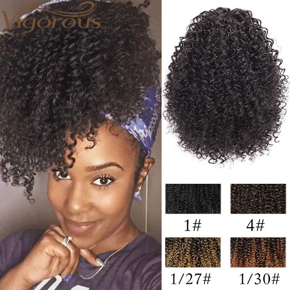 Vigorous Afro Kinky Curly Hair Extension Drawstring Puff Ponytail Synthetic Clip In Pony Tail African American Hair Extension
