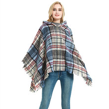 New Women Ladies Tassel Cape Coat Fringe Poncho Oblique Stripe Coat Bohemian Shawl Scarf Chequered capped Cape shawl(China)