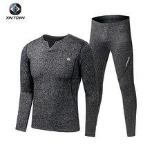 Velo longo johns esportes conjuntos de roupa interior térmica 2020 novo outono inverno espessamento com decote em v masculino terno quente