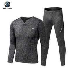 Fleece Long Johns Sports Thermal Underwear Sets 2020 New Autumn Winter Thickening V-Neck Men Warm Suit
