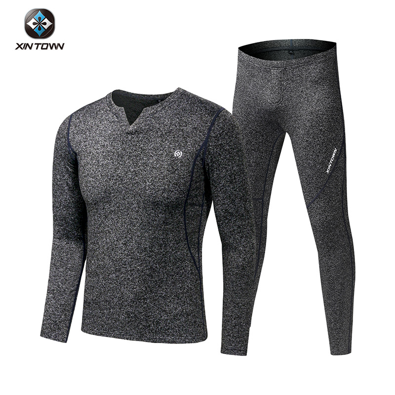 Fleece Long Johns Sports Thermal Underwear Sets 2019 New Autumn Winter Thickening V-Neck Men Warm Suit title=