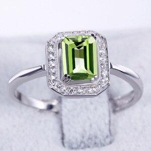 Image 3 - Bague Ringen 100% Real Sterling Silver Ring Voor Vrouw Met Rechthoek 7*5Mm Natuurlijke Olivijn Gemstone Fine Jewelry bruiloften Geschenken