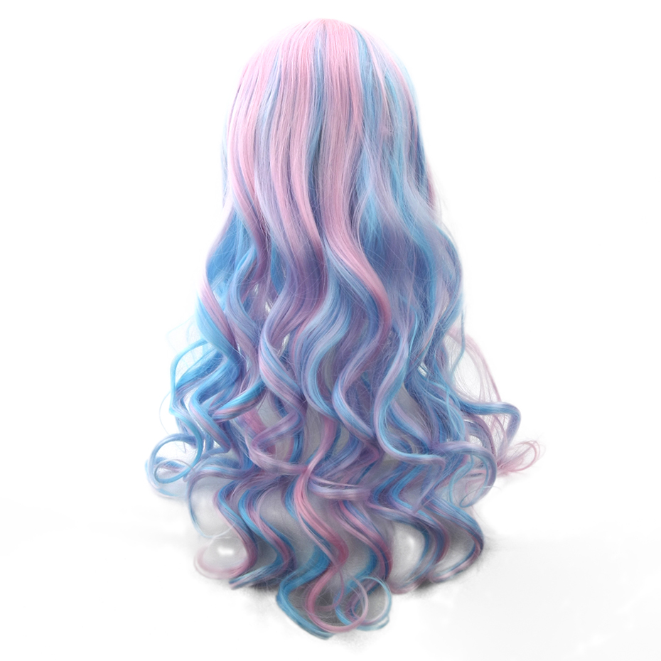 Soowee 70cm Long Wavy Pink Blue Rainbow Hair Color Wigs-female Synthetic Hair Women's Wig Party False Hair Cosplay Wigs