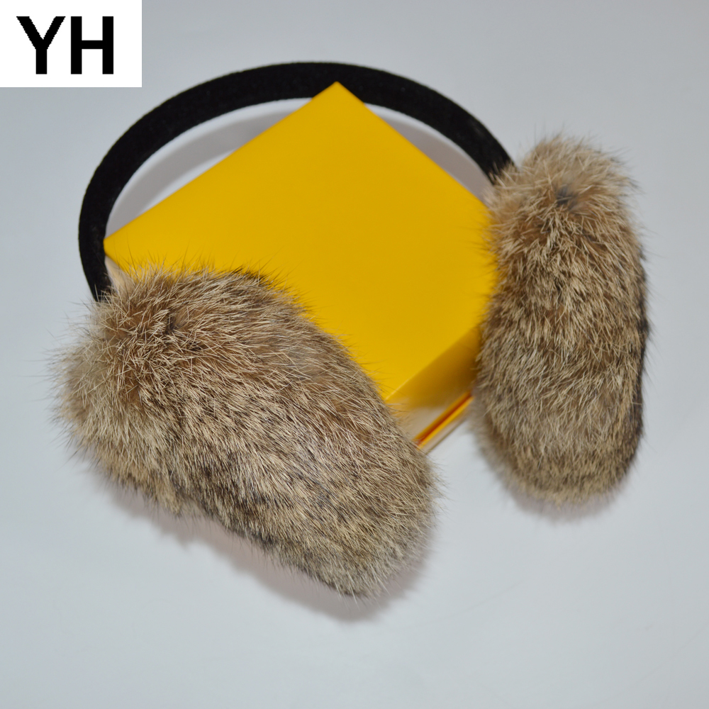 2019 New Style Winter Women Warm Soft Real Rabbit Fur Earmuff Girl Real Rabbit Fur Plush Ear Muff 100% Real Natural Fur Earmuffs